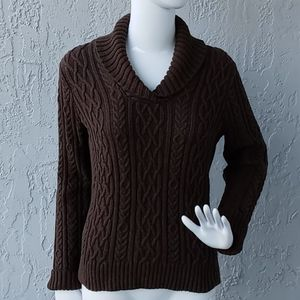 Willi Smith Shawl Collar Cable Knit Sweater